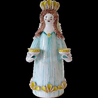 Large Scandinavian ceramic angel, vintage candle holder, hand painted
