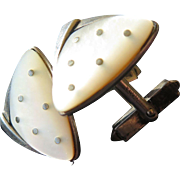 Silver 835 cufflinks with mother of pearl, triangular, atomic