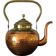 Antique hammered copper gooseneck kettle with brass handle and top, 19th Century