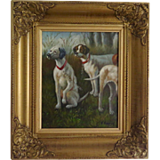Oil on canvas, hunting dogs by V. Kamps (Belgium) - two pointer dogs (and a half!) oil painting