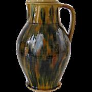 Antique jug, drip glaze, ovoid style, ca. 1900.