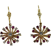 14kt Yellow Gold Ruby/Diamond Earrings hand-crafted by Thomas T.