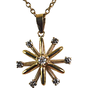 14kt Yellow Gold Diamond Starburst Pendant Hand-Crafted by Thomas T.