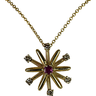 14kt Yellow Ruby/Diamond Starburst Slide Pendant Hand-Crafted by Thomas T.