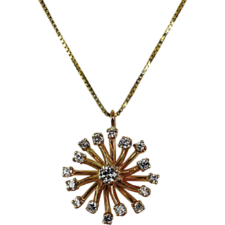 14kt Yellow Gold Diamond Pendant Jr. Hand-Crafted by Thomas T.