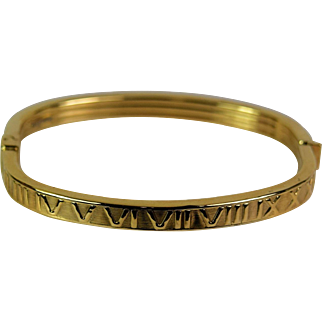 14k Yellow Roman Numerals Gold Bangle Bracelet, Pre-Owned