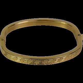 14k Yellow Greek Key Design Gold Bangle Bracelet, Pre-Owned