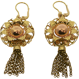 Vintage 14k yellow/rose gold earrings pre-owned, excellent condition