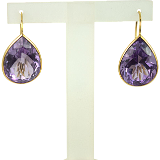 Vintage 14kt Yellow Gold Amethyst Earrings, Pre-Owned