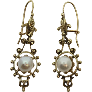 Vintage 14kt yellow gold cultured pearl earrings, pre-owned