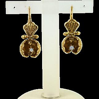 Lady's 14kt Yellow Gold Opal Earrings, Estate Jewelry