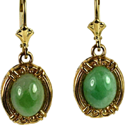 Lady 14kt Yellow Gold Jade (Jadeite) Earrings, Exquisite Custom Jewelry Hand Crafted by Thomas T.