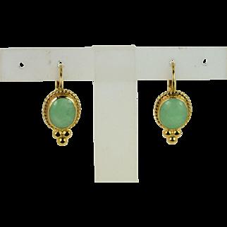 Lady 14k Vintage Apple Green Jadeite Earrings