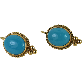 14k Earrings with Turquoise Cabochon (Sleeping Beauty)