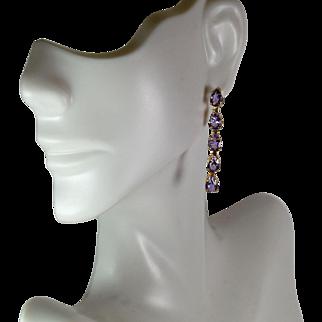Lady 14kt Yellow Drop Amethyst Earrings, Pre-Owned
