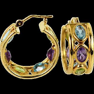 14kt Multi Color Gems Hoop Earrings Estate Jewelry, Pre-Owned