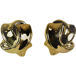 14kt Yellow Gold Stylish Omega Back Earrings, Estate jewelry, Pre-Owned