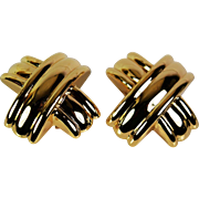 Stylish Omega Back Earrings, 14 karat,  Pre-Owned