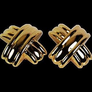 Stylish Omega Back Earrings, 14 karat,  Pre-Owned