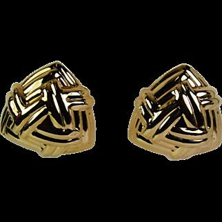 Chic Omega Back Earrings, 14 karat, Pre-Owned