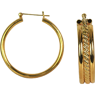 Polished Classic Hoops 14k yellow gold Earring