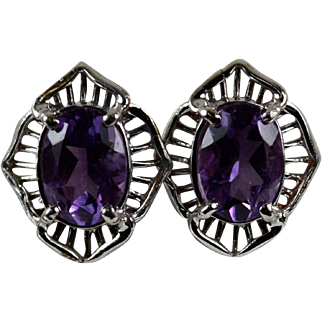 Vintage Filigree 14k Amethyst Earrings