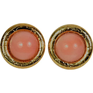 Lady 14k Pink Salmon Coral Earrings, Pre-Owned