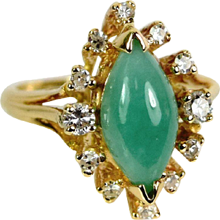 Vintage 14k yellow Gold Jade/Diamond Ring