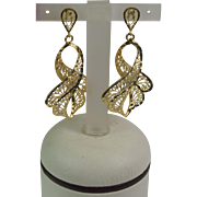 Vintage 14k Yellow Gold Elegant Dangle Earrings