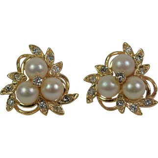 Gorgeous 14kt Yellow Gold Diamond/Pearl Earrings, Vintage