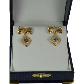 Stunning Vintage Amethyst Earrings, in 14kt Gold