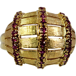 Vintage Ruby Ring Set In 14kt Yellow Gold, Pre-Owned