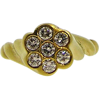 18kt Yellow Gold Diamond Ring, pre-owned
