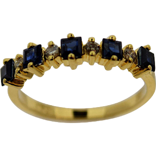 Vintage Lady 14kt Yellow Natural Blue Sapphire/Diamond Band Ring
