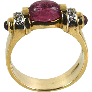 Vintage Lady 14k Vibrant  Hot Pink Tourmaline/Diamond ring, Pre-Owned