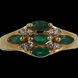 Vintage Lady 14k yellow Emerald/Diamond ring