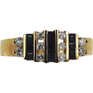 Vintage 14k Yellow Sapphire/Diamond Ring