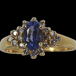 Vintage Lady 14kt Bluish Purple Tanzanite/Diamond ring