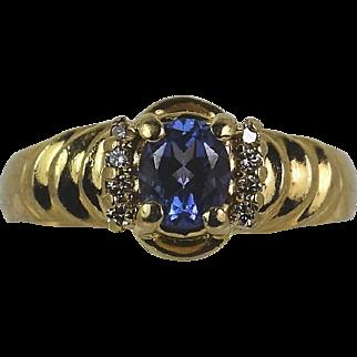 Lady 14kt Lush Blue,  Rich Royal purple Tanzanite/Diamond ring, Pre-Owned