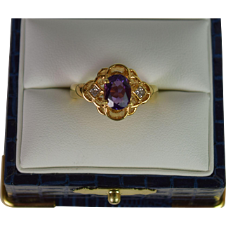 A stunning Vintage Amethyst and Diamond Ring in 18k Gold