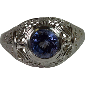 Exquisite Filigree Ring 14k White Gold with  Genuine Tanzanite