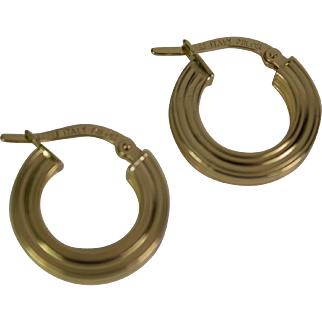 18k Yellow Gold hoop Earrings, Pre-Owned
