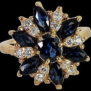 Handmade Custom 14k Yellow Gold Diamond/Sapphire Ring