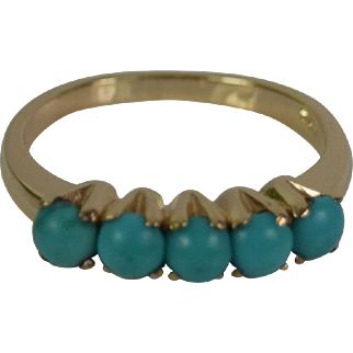 14k Yellow Gold Turquoise Ring Estate Jewelry