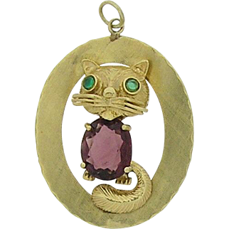 14k yellow gold Cat pendant, Estate Jewelry, Pre Owned