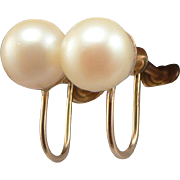 14K Yellow Gold 7mm Cultured Pearl Solitaire Screwback Earrings Screw Back
