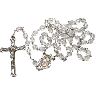 Vintage Ornate Sterling Silver & Glass Bead Beaded Rosary Cross Crucifix
