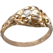 Antique Art Nouveau Larter & Sons Chrysanthemum Flower Yellow 14K Gold Diamond Ring 3.8g