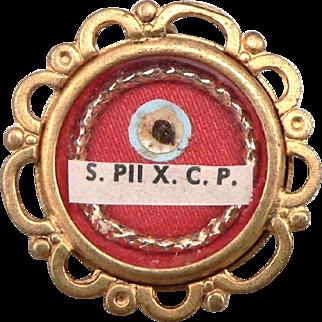 Vintage Saint Pius the Tenth Confessor Pope Reliquary Relic Theca Pendant S. PII X. C. P.
