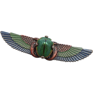 Vintage Egyptian Revival Real Scarab Beetle Brooch Pin Winged Wings Art Nouveau